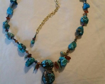 Turquoise,  amber necklace.