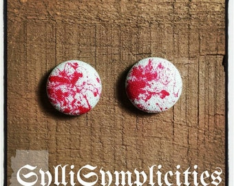 Bloody white fabric button earrings
