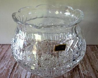 Vintage Crystal Bowl, Violetta Hand Cut 24% Lead Crystal Bowl, Made In Poland Thick Crystal Bowl, Hand Cut Crystal Bowl, Wedding Decor