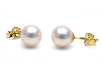 Japanese Akoya Saltwater Cultured Pearl Earrings, 7.5mm to 8.0mm, AAA Quality, 14K Gold Posts