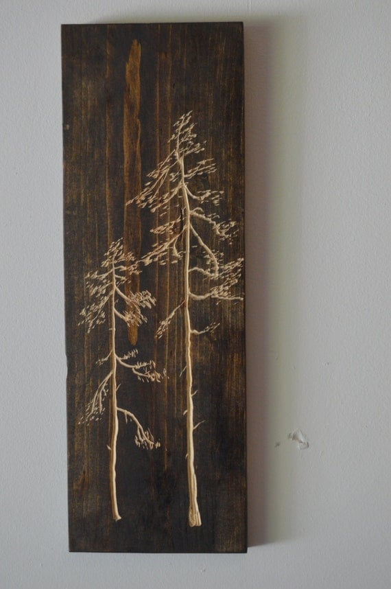 Wall Decor Pine Trees : Pieces of carved pine tree wall art high by jdecreations