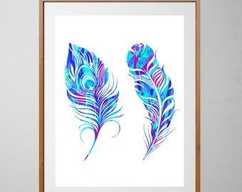 Feathers Watercolor Print, Wall Art Poster, Home Decor, Boho Art, Blue feathers Illustration [NO 39]