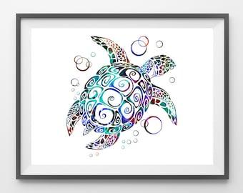 Turtle Print BlueTurtle watercolor print Turtle poster, nursery art, sealife art print, horizontal print [NO 43]