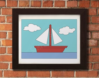 Sail Boat in Water Poster Print - Livingroom Wall Art - Sizes - 5X7 - 8X10 - 16X24 Inches