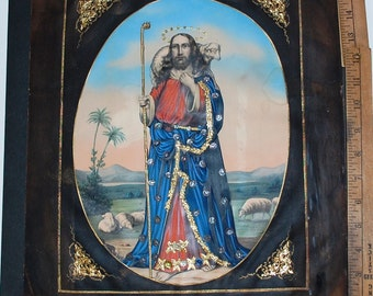 1860 F. Silber Religious Colorized Lithograph with Gold Ribbons!