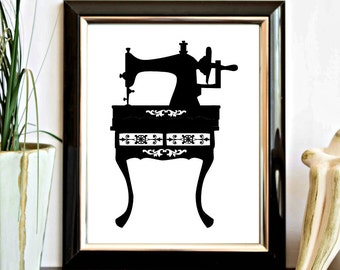 Sewing Machine Silhouette Printable - Wall Art - Wall Decor Poster - Vintage Sewing Machine Art Printable - Instant Download - Office
