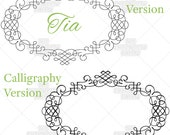 Tia Monogram Font Frame Machine Embroidery Pattern Design