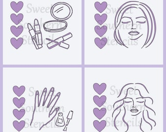 PYO: Spa Party or Makeup Party Cookie Stencils  (4 separate stencils)