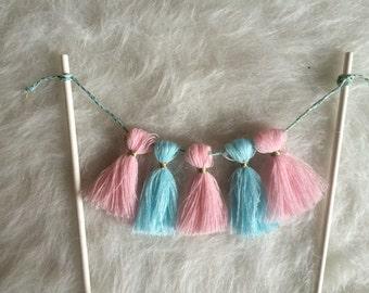 Gender Reveal Cake Topper Garland. Blue and Pink. Baby Shower. Gender Reveal.