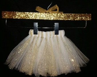 Gold Tutu, Gold and White Tutu, White and Gold Tutu, Girls Tutu, Infant Tutu, Glitter Tutu, White Tutu