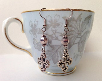 Gothic Cross Earrings - Gothic Cross Charm With Antique Silver Beads