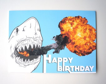 Fire Breathing Shark - Birthday Greeting Card : FREE SHIPPING
