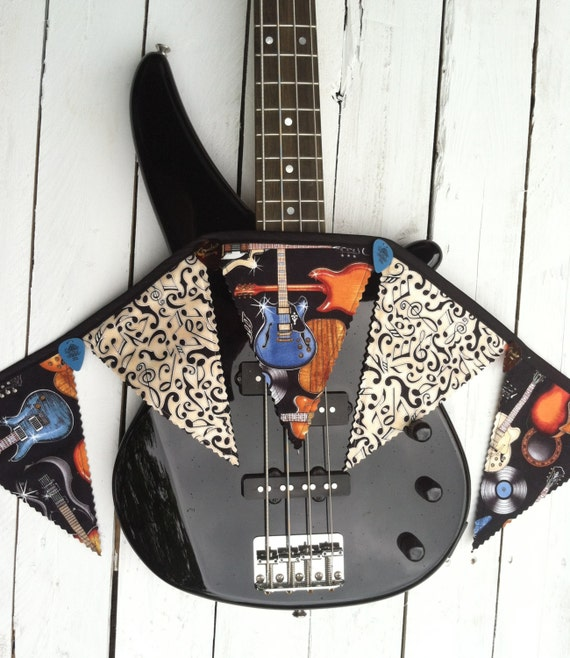 Decoration Theme Guitare : Guitar themed fabric banner bunting music by