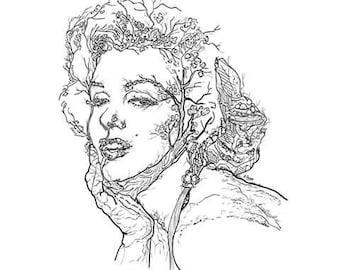 Marilyn Monroe Art,Marilyn Monroe Print,Pop icon cinema,Vintage golden age,Vintage design,Vintage illustration,Art and colection. Sex symbol