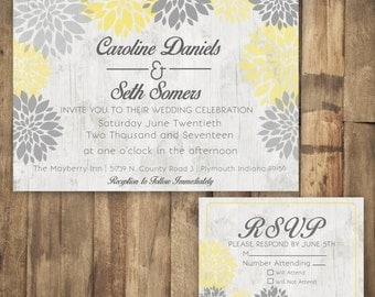 Gray and Yellow Wedding Invitation, Floral Wedding Invitation, Rustic Wood Wedding Invitation, Country Wedding Invitation, Grey Wedding