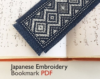 PDF • Japanese Kogin Embroidery Bookmark Pattern • Fair Trade