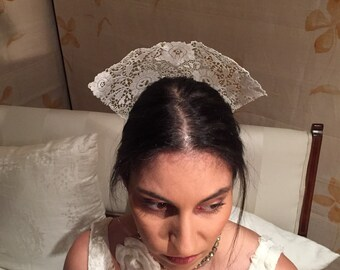 Bridal Spanish style tiara made from antique lace - bride headpiece or racewear