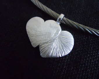 "Silver Pendant heart ""two forever"""