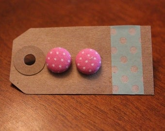 SALE || Pink Dots Fabric Button Earrings - Small