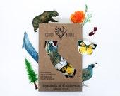 Symbols of California Temporary Tattoos: CA Poppy, Dogface Butterfly, Gray Whale, Coastal Redwood, California Grizzly, California Quail
