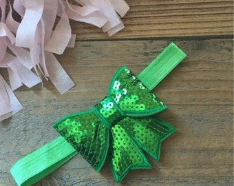 Sequin Bow Headband Green