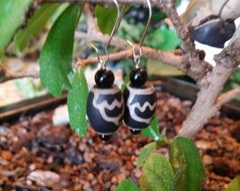 Black & Tan Beaded Dangle Earrings