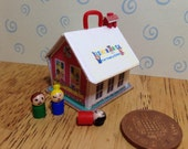 Hand made Dolls house Miniature replica vintage fisher price play family school  tiny teacher and 2 children 112 scale