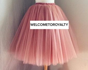 Mauve Pink Tulle Skirt, Bridesmaid, Flower Girl, Engagment, Skirt