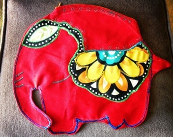 Orange Blossom Elephant pouch