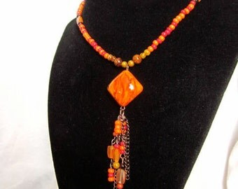 Burnt Orange Long Necklace with Tassel