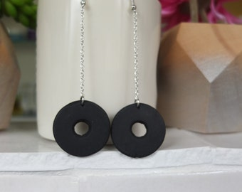 Circle Black Drop Earrings