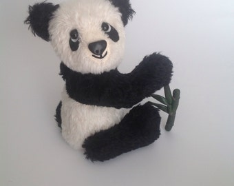 Panda teddy bear - mohair collectible artist panda bear with its own bamboo!