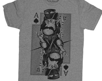 Motorhead Shirt - Mens Motorhead Shirt - Ace of Spades Shirt - Lemmy from Motorhead Hand Screen Printed on a Mens T-Shirt - Lemmy Shirt