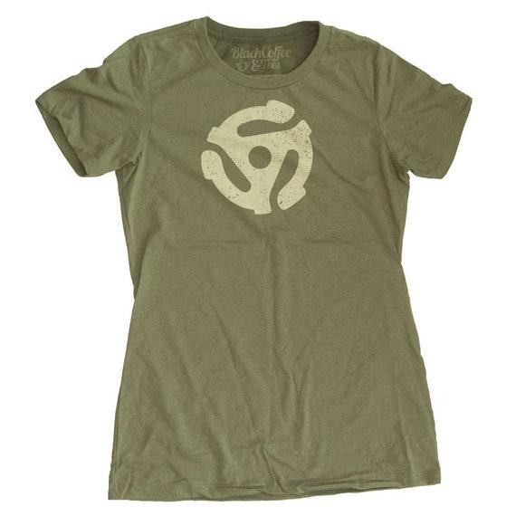 Vinyl Record Shirt -Womens 45 RPM T-Shirt - Hand Screen Printed Womens T-shirt- DJ Shirt - Record Lover Shirt - Womens Record Shirt - Music