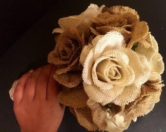Medium Burlap Flower Bouquet - Burlap Bouquet - Wedding Flower Bouquet