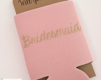 Bridesmaid Proposal Can Cooler Dusty Rose | Will you be my Maid of Honor Bridesmaid | Bridal Party