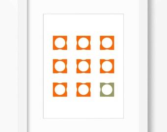 Geometric print, abstract art print, orange print, minimalist print, orange wall decor, orange green decor, instant download, 18x24 print