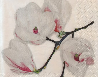 "Decoupage Napkin - Set of 3 - White Magnolia 10"" x 10"""