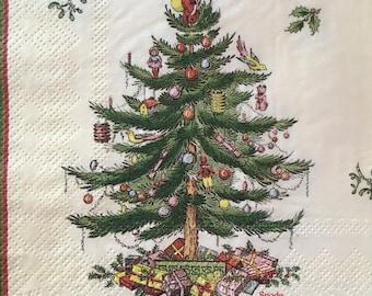 "3 Decoupage Holiday Beverage Napkins,  CHRISTMAS TREE SPODE, 10"" x 10"" unfolded"