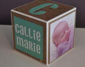 Personalized Baby Birth Announcement, Girl, Birthday, Wood Photo Block, Nursery Decor, Newborn Keepsake, Custom Newborn Gift, Gold, Arrows