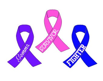 Cancer Awareness Ribbon, Vinyl Decal Sticker, -Customize with size, color, and name