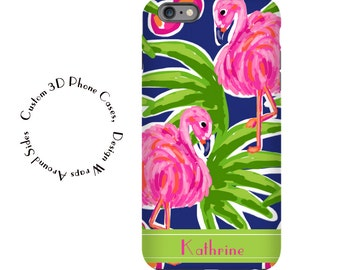 1275 // iPhone 6 Case iPhone 6 Plus Case iPhone 5 Case iPhone5sCase GalaxyS5case GalaxyS6case,customcase monogram lily inspired flamingo