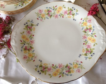 """Pretty Vintage Colclough English Bone China Cake/Sandwich Plate in Cheerful Spring Wildflower  """"HEDGEROW"""" Pattern"""