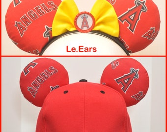Angels Baseball Inspired Mickey Minnie Ears