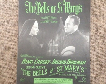 SALE WAS 8 Vintage 1945 Bing Crosby and Ingrid Bergman in The Bells of St Mary's. Sheet Music for Piano or Artwork for framing.