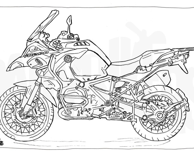 Adult Colouring Page - Motorcycle Illustration - Motorcycle Coloring - BMW R1200GS