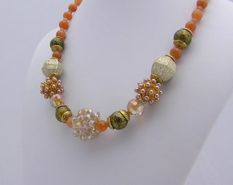Green and Orange Statement Necklace