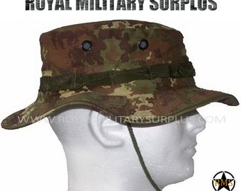 Boonie Hat - Summer/Sun Camo Hat - Italy Army Disruptive Evolutive Camouflage Pattern - Airsoft & Paintball - VEGETATO (Woodland)
