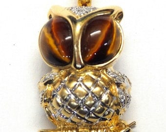 14k Two Tone Gold 0.05 ct Diamond and Tiger Eye Owl Brooch/Pendant