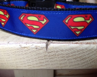 1 Inch Wide Custom Made Adjustable Superman Grosgrain Dog Collar